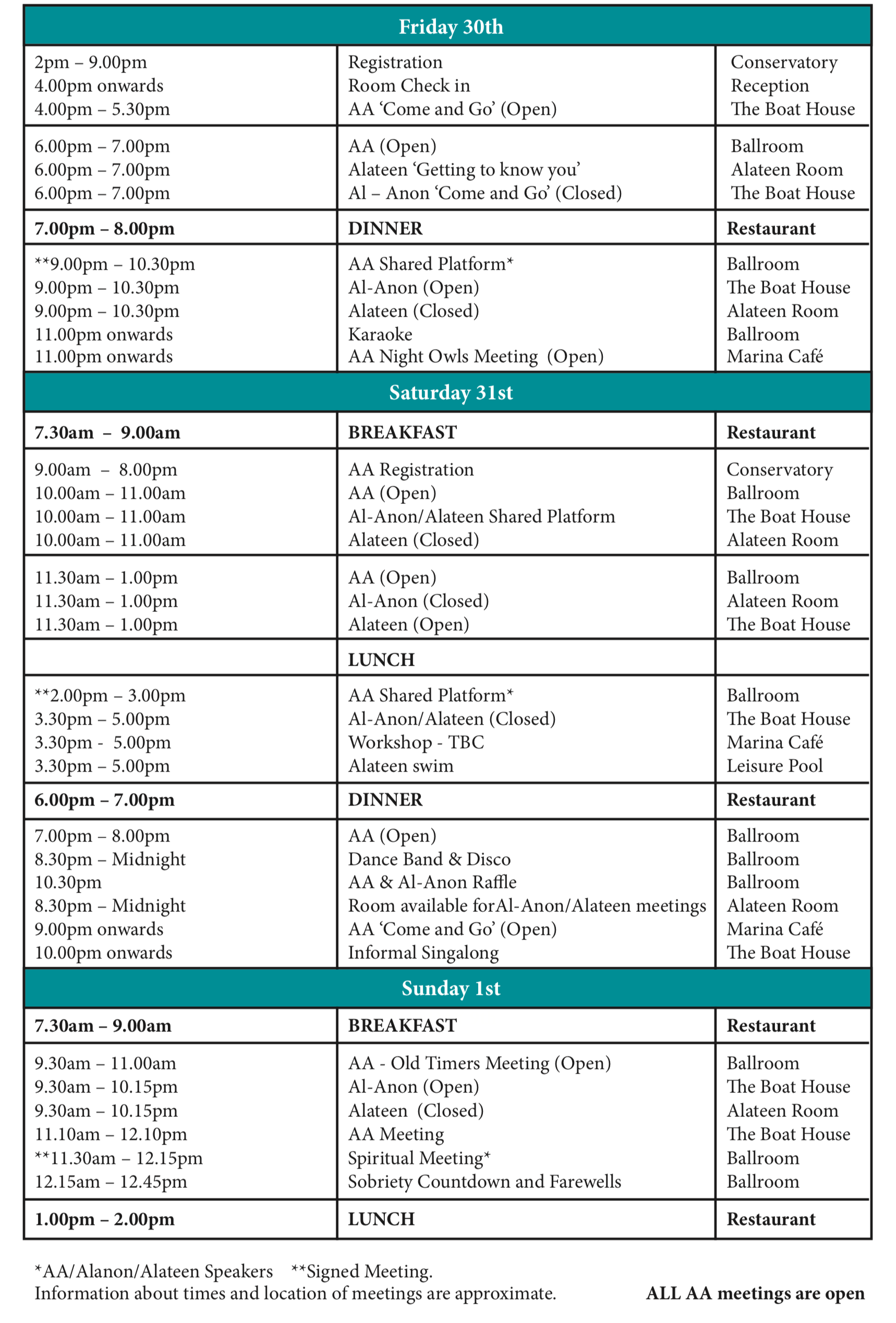 Southern National Convention Programme